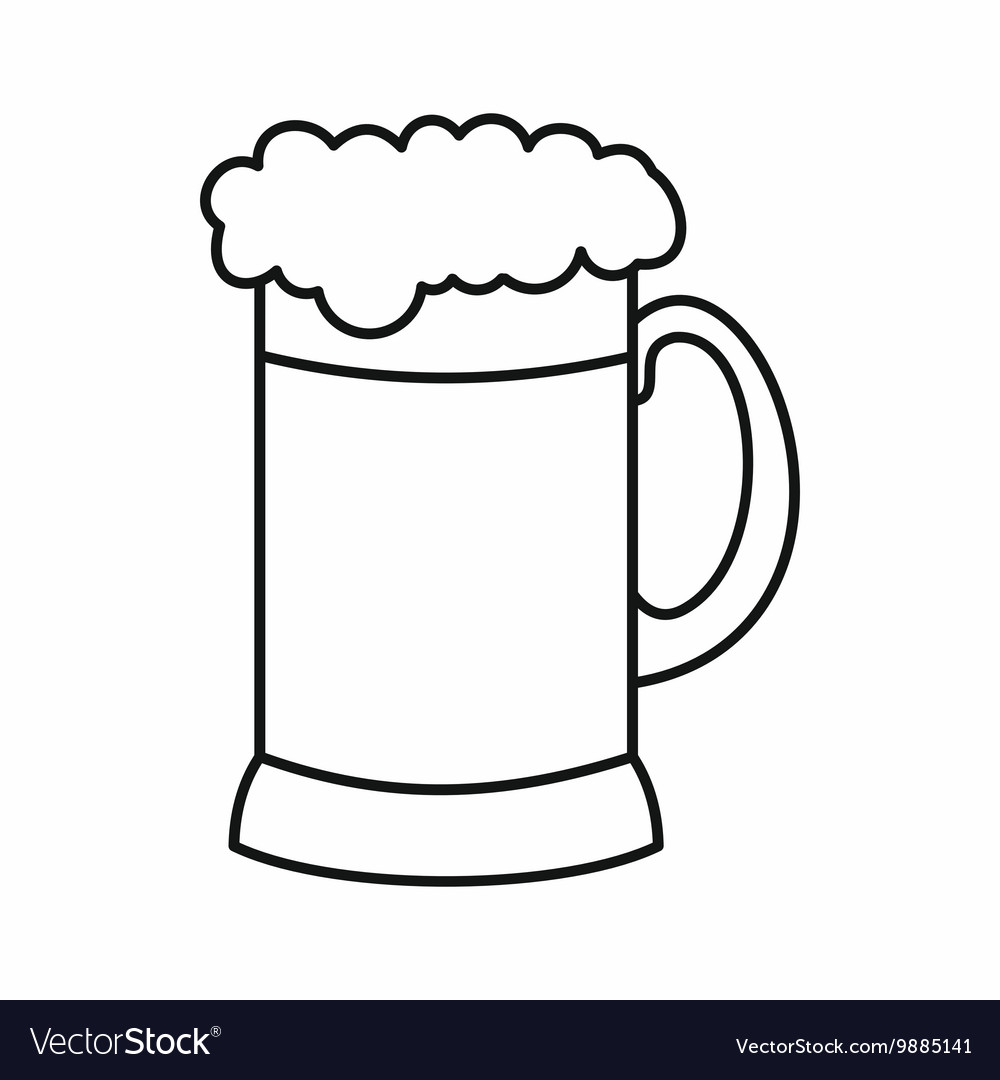 Beer stein outline image free clipart pdf picture download Mug of dark beer icon outline style picture download