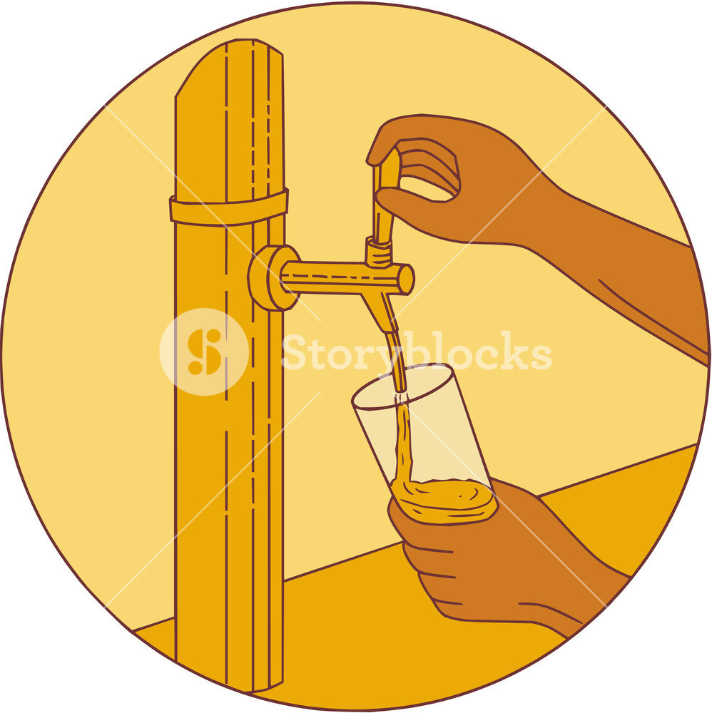 Beer tap pouring clipart vector freeuse library Drawing sketch style illustration of a hand holding glass pouring ... vector freeuse library