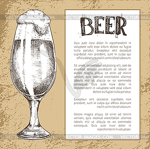 Beer tulip clipart picture library stock Full Tulip Beer Glass with Spilling Foam Poster - vector clip art picture library stock