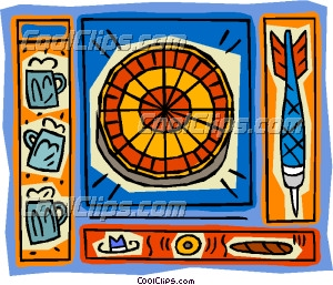 Beers and darts clipart picture Dartboard motif, with darts and beer Clip Art picture