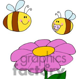 Bees and flowers clipart. Bee flower kid mother