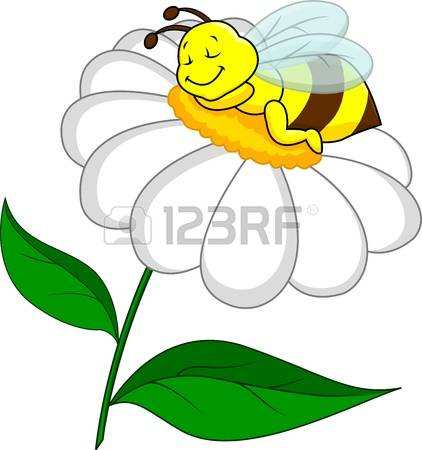 stock vector illustration. Bees and flowers clipart