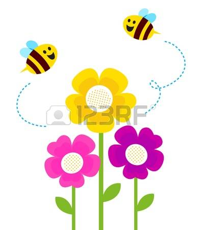 Bees and flowers clipart.  stock vector illustration