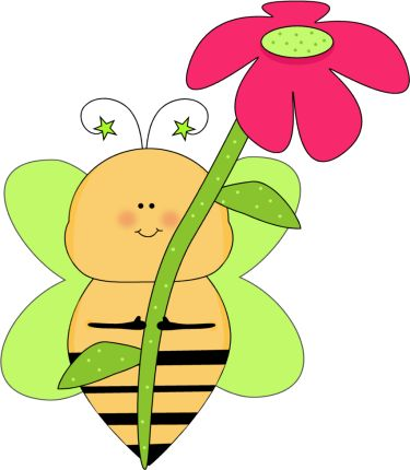 Bees and flowers clipart. Flower clip art green