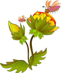 Bee flower clip art. Bees and flowers clipart