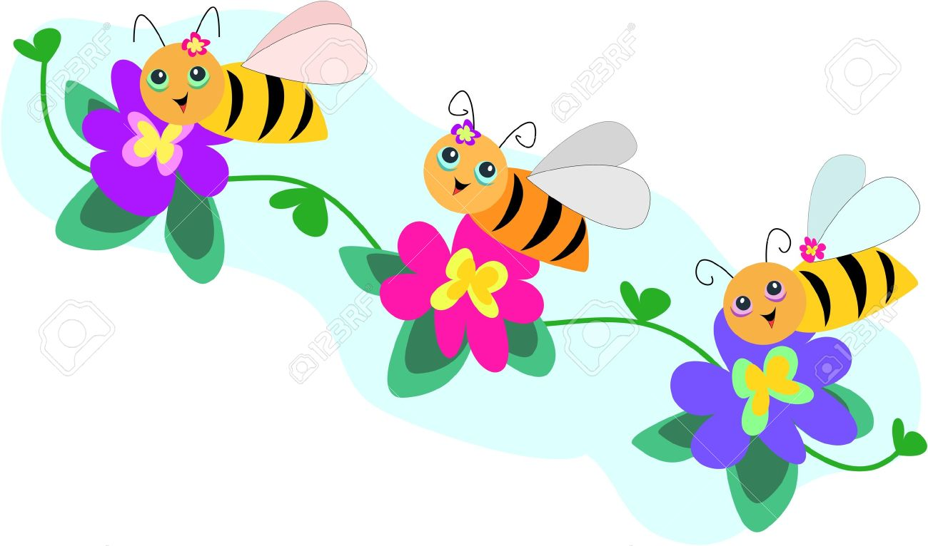 Trio bee line with. Bees and flowers clipart
