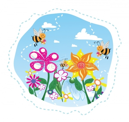 Bees and flowers clipart graphic stock Bees and flowers clipart - ClipartFest graphic stock