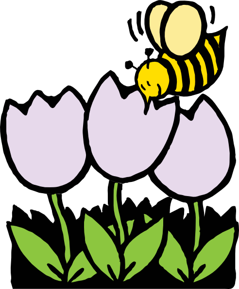 Bees and flowers clipart. Bee flower kid clip
