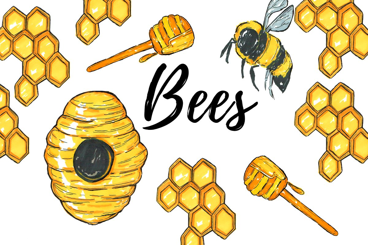 Bees clipart svg download Watercolor Bee Clipart svg download