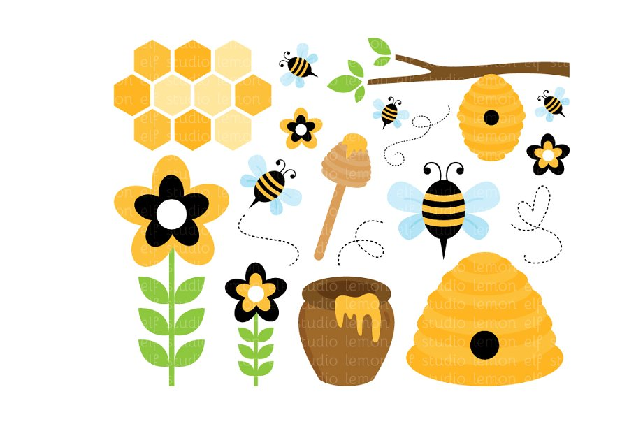 Clipart of bees honey banner freeuse stock Sweet Honey Bees Clipart (LES.CL54) banner freeuse stock