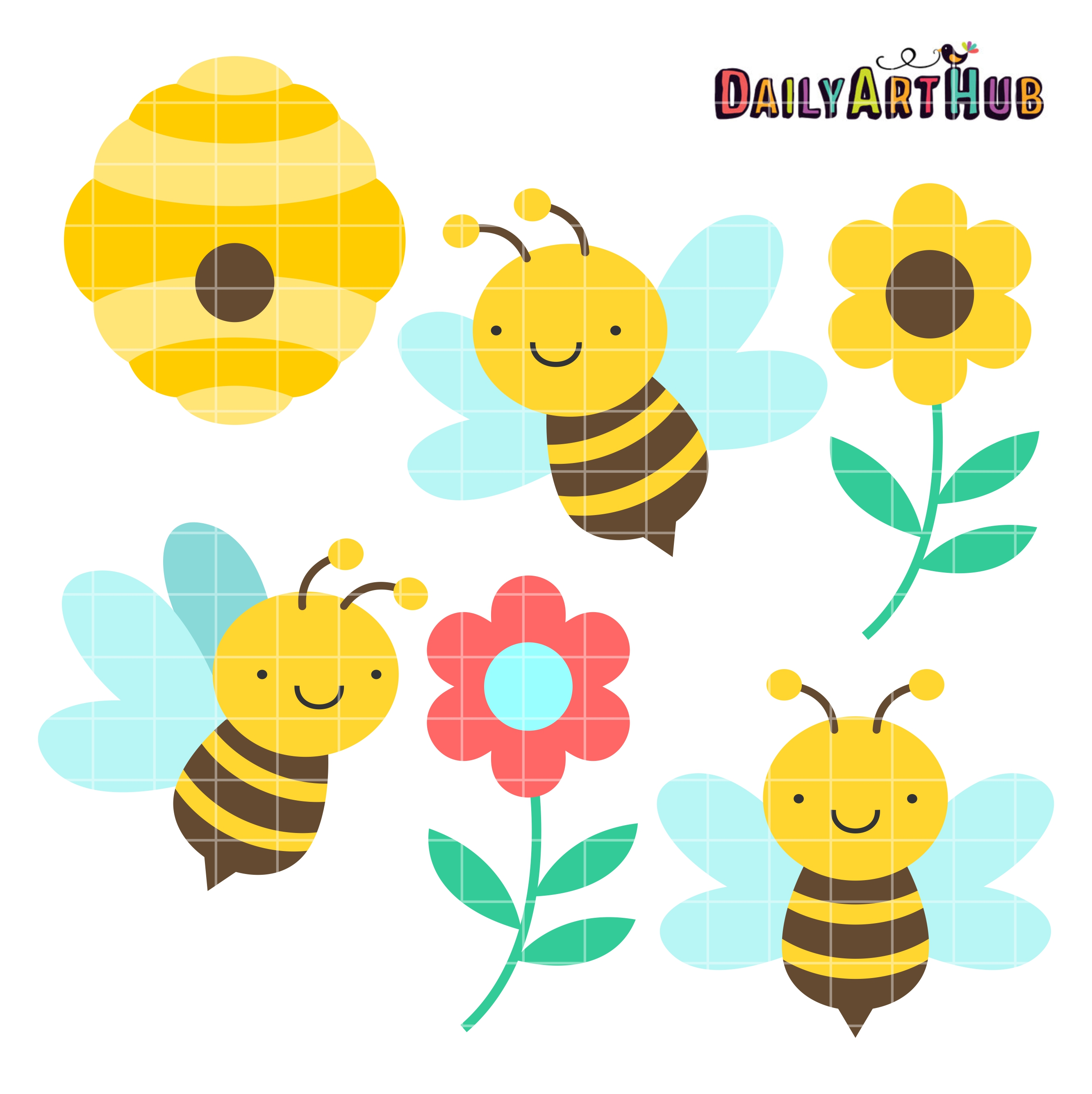 Bees honey clipart png library library Cute Honey Bees Clip Art Set png library library