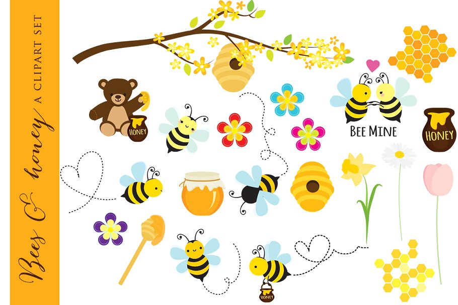 Bees honey clipart clipart royalty free library Bees clipart clip art honey bear clipart royalty free library