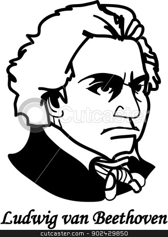 Beethoven as a child clipart black and white banner library stock Ludvig von Beethoven (vector) stock vector banner library stock
