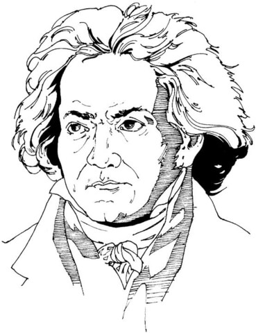 Beethoven as a child clipart black and white image download Ludwig van Beethoven coloring page | Free Printable Coloring Pages image download