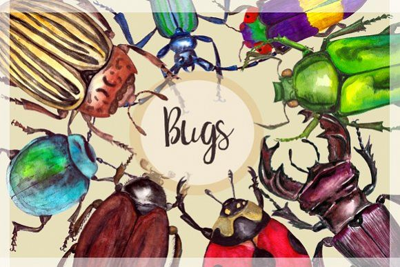 Beetle print clipart svg freeuse library Watercolor Beetles Clipart & Print svg freeuse library