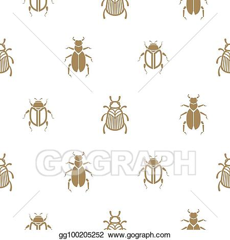 Beetle print clipart svg black and white stock Vector Clipart - Beetle gold and white vector seamless pattern for ... svg black and white stock