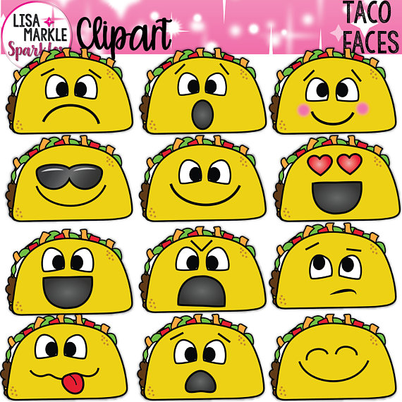 Behavior faces clipart vector black and white stock Taco Clipart, Emoji Taco Clipart, Taco Clipart with Faces | Products ... vector black and white stock