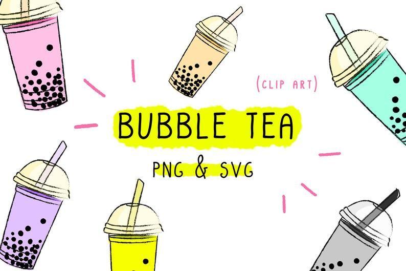 Beignet clipart black and white clip Bubble Tea Clipart, bundle set image, sugar clip art, black white ... clip