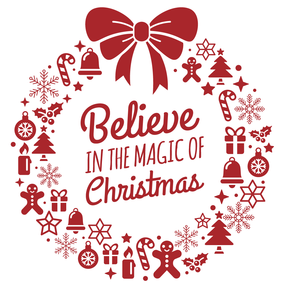 Believe in the magic of christmas clipart clip download Believe Magic of Christmas Vinyl Sticker, Phone Sticker, Laptop Decal,  Window clip download