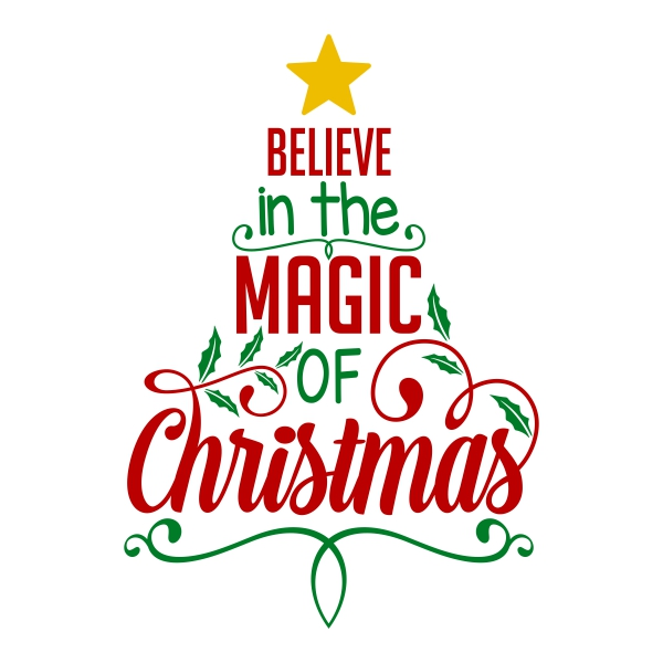 Believe in the magic of christmas clipart banner royalty free download Believe Christmas Magic Tree Cuttable Design banner royalty free download