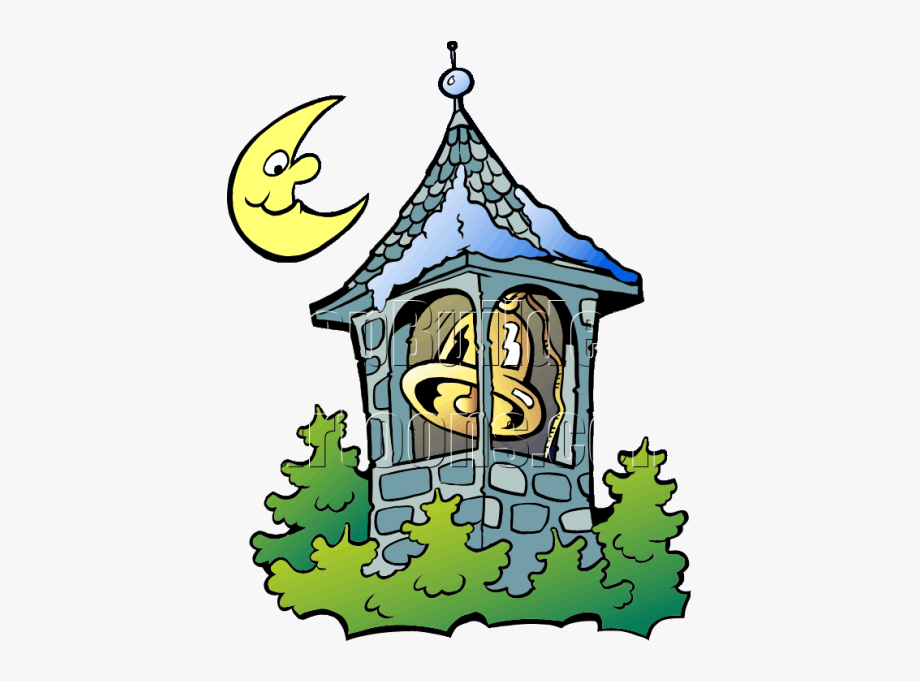 Bell tower clipart red image transparent library Christmas Bell Tower With Moon - Bell Tower Clip Art #1073595 - Free ... image transparent library
