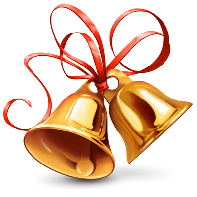 Bell with ribbon clipart image library download Christmas Bell Clipart Shiny Golden Bells + Ribbon | Just Free ... image library download