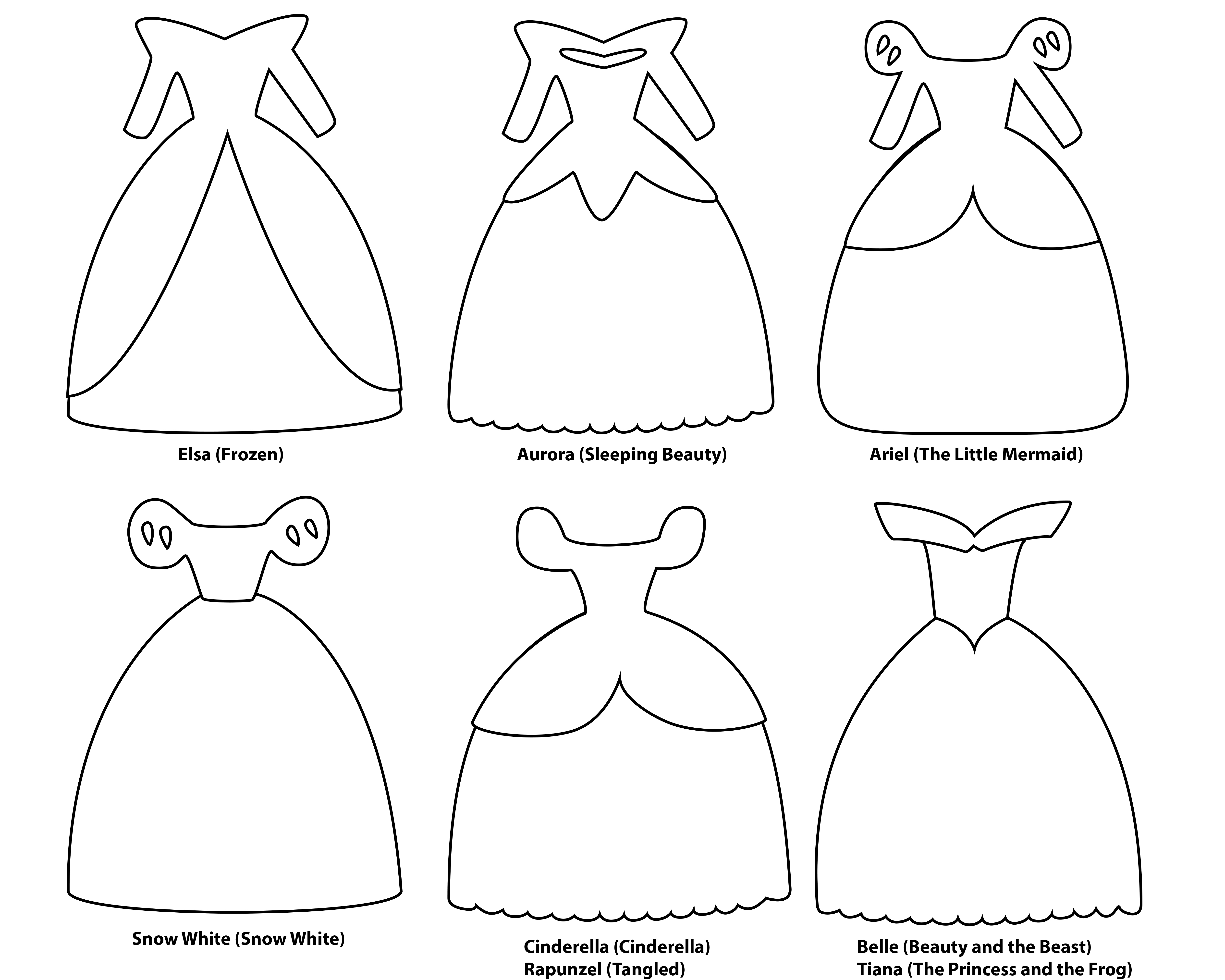 Belle clipart outline jpg free download 6 paper dress cutout templates for 8 Disney princess characters ... jpg free download