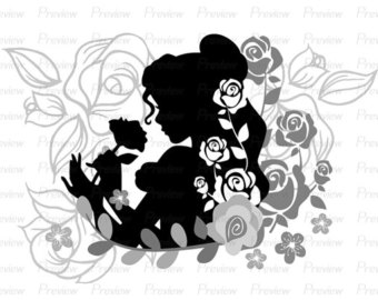 Belle clipart silhouette svg library download Beauty and the beast bell black silhouette clipart - ClipartFest svg library download