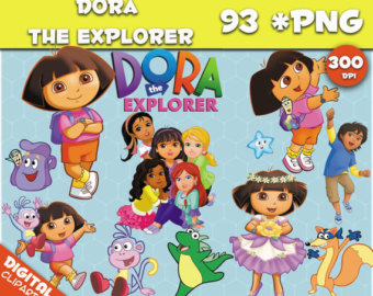 Belle clipart transparent background. Etsy dora the explorer