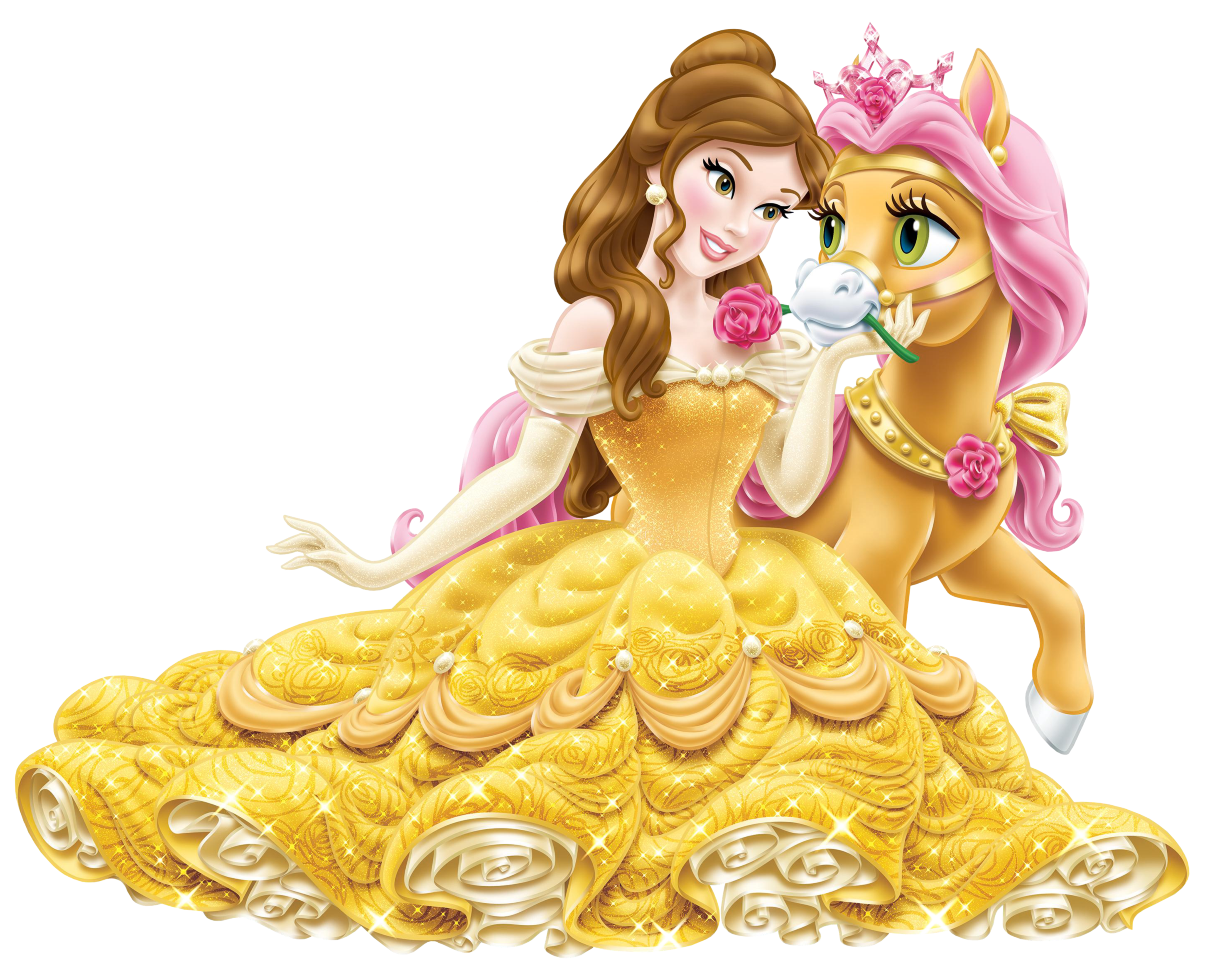 Free clipart disney halloween vector library Disney Princess Belle with Cute Pony Transparent PNG Clip Art Image vector library