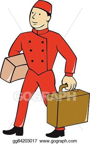 Bellhop clipart vector free download EPS Vector - Bellboy bellhop carry luggage cartoon. Stock Clipart ... vector free download