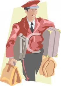 Bellhop clipart jpg library bellman clip art | Hotel Bellhop Carrying Luggage - Royalty Free ... jpg library