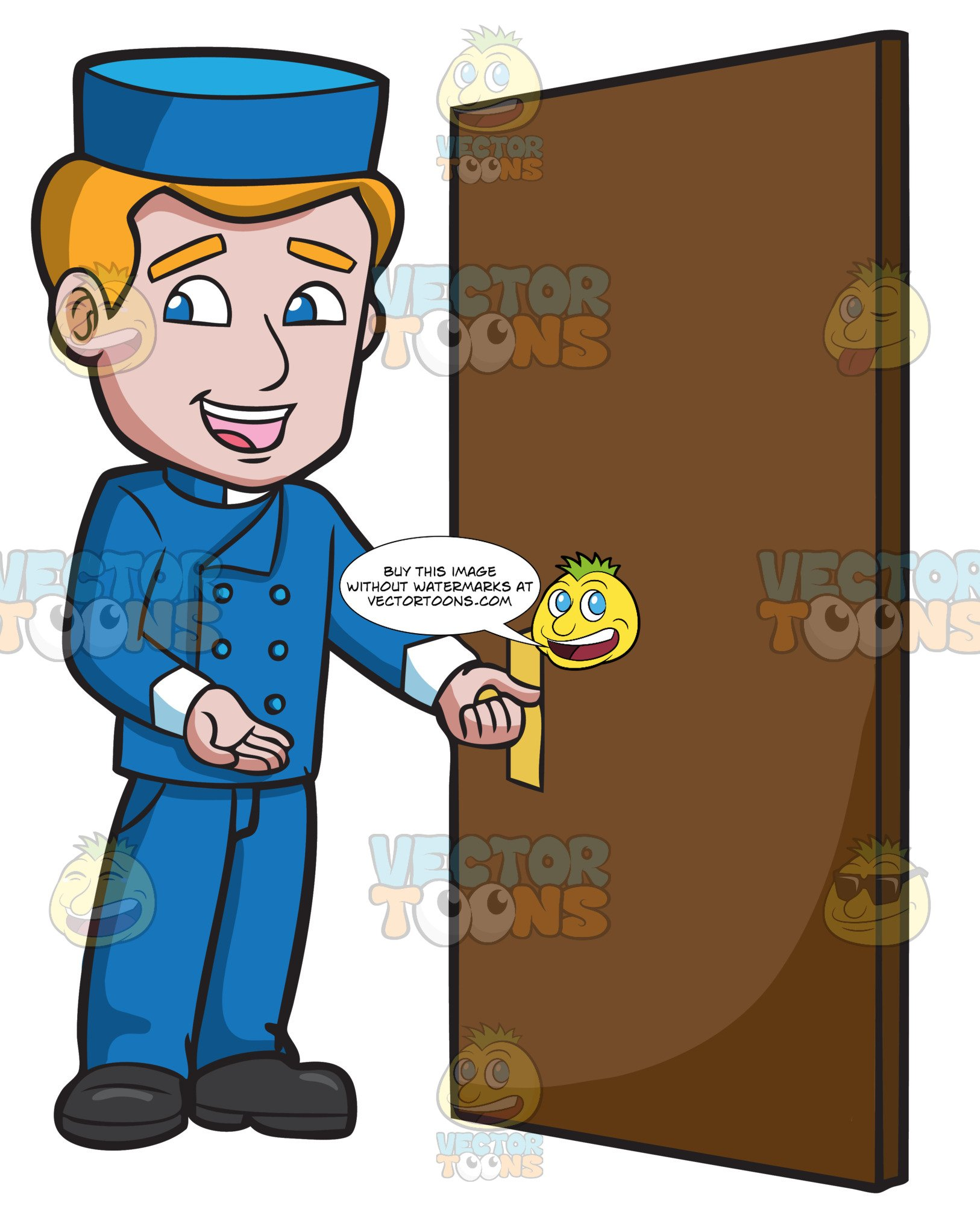 Bellhop clipart vector black and white download A Bellhop Opening The Hotel Door vector black and white download