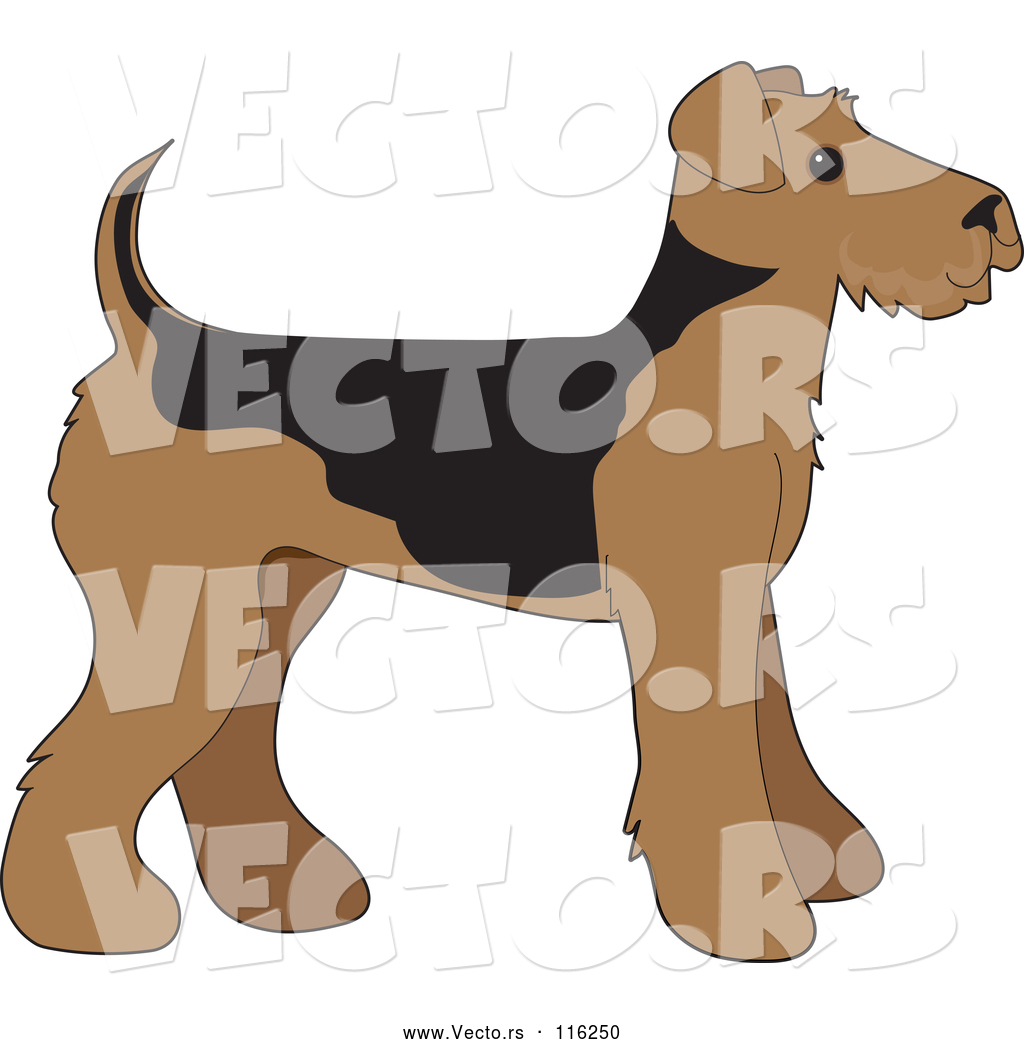 Bells on dogs tail clipart svg free stock Vector of Cartoon Cute Airedale Terrier Puppy Dog in Profile by ... svg free stock