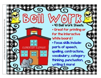 Bellwork clipart image stock Bell Work BUNDLE for grades 3-4-5 Language Arts by Elementary Elephant image stock