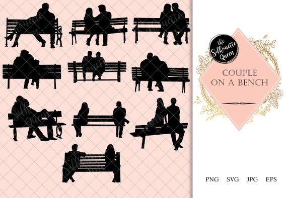 Bench logo clipart png royalty free Couple on a Bench Silhouette |Playground Old Couple Vector | Park ... png royalty free
