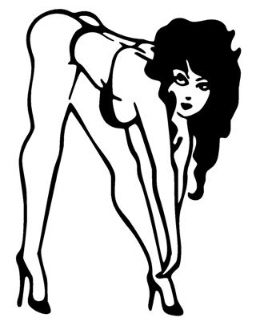 Bend over moon black & white clipart jpg transparent library Bent Over Bikini Girl Decal Sticker jpg transparent library