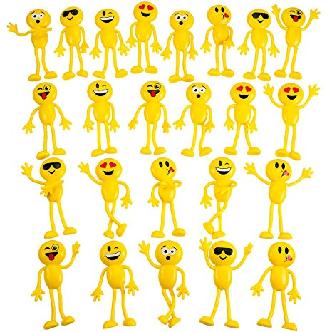 Bendable smiley face fidget clipart picture freeuse stock Kicko Emoticon Figure Bendable Toys - 24 Pack 4.5\