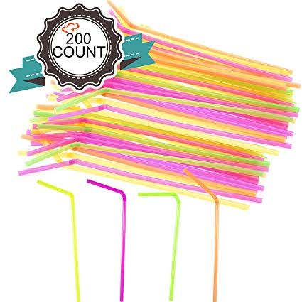 Bendable straw clipart picture freeuse stock Tiger Chef 200 Drinking Plastic Straws, Flexible Straws, BPA-Free, 8.25\