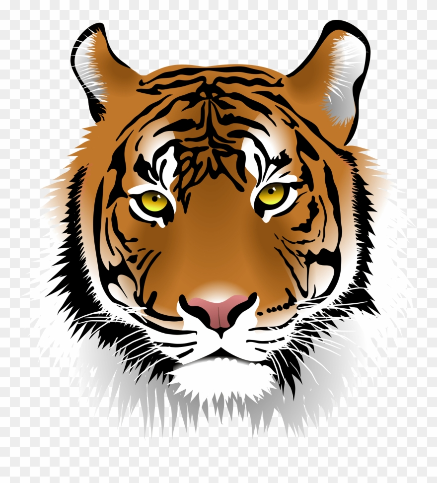 Free tiger head clipart image black and white Free Elegant Tiger Face Clip Art - Bengal Tiger Head Clipart - Png ... image black and white