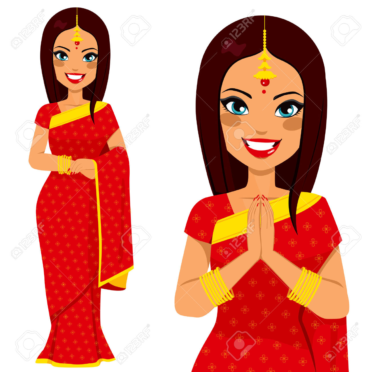 Bengali traditional dress clipart jpg transparent library Bengali girls clipart - ClipartFox jpg transparent library