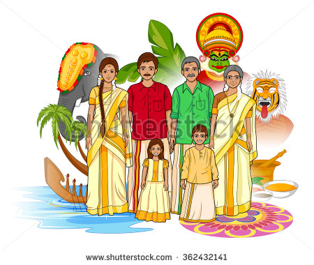 Bengali traditional dress clipart png black and white stock Vector design of Keralite family showing culture of Kerala, India ... png black and white stock
