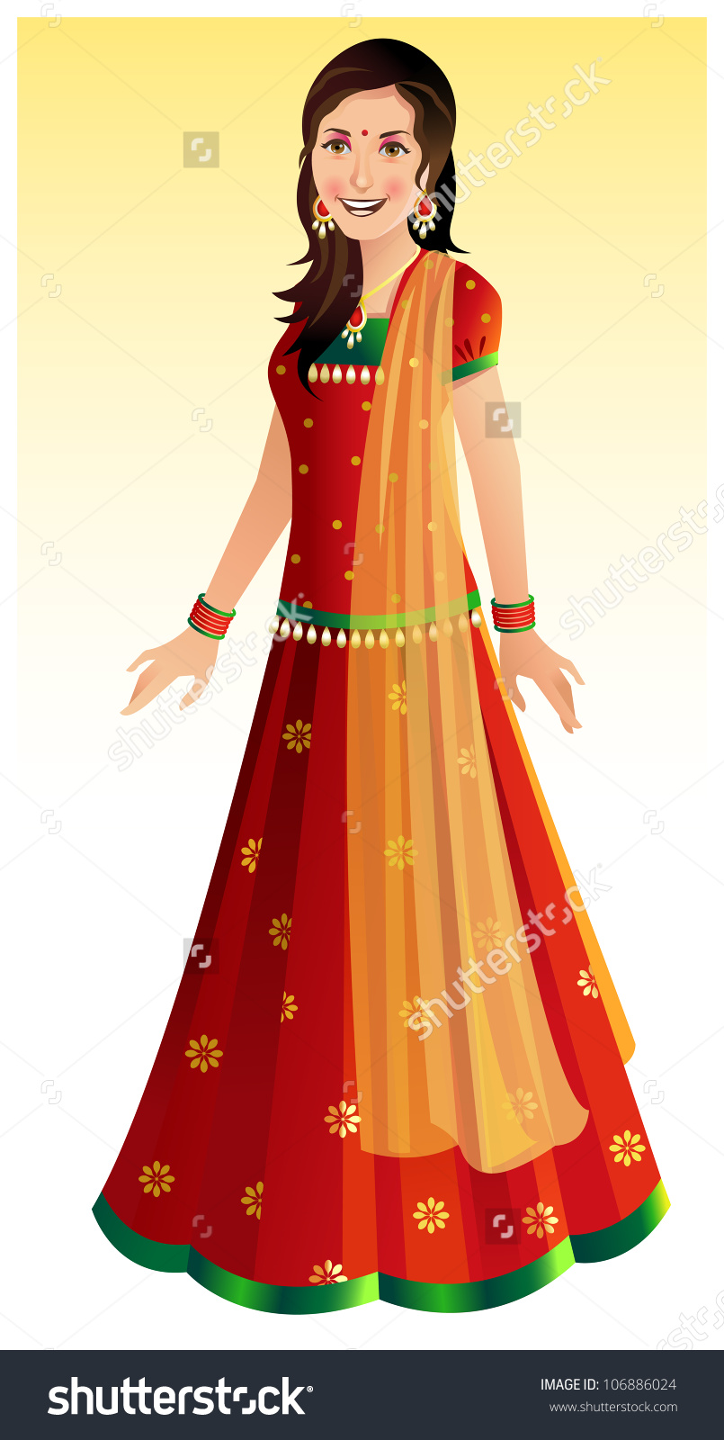Bengali traditional dress clipart clip art free Beautiful Indian Woman Wearing Traditional Indian Stock Vector ... clip art free