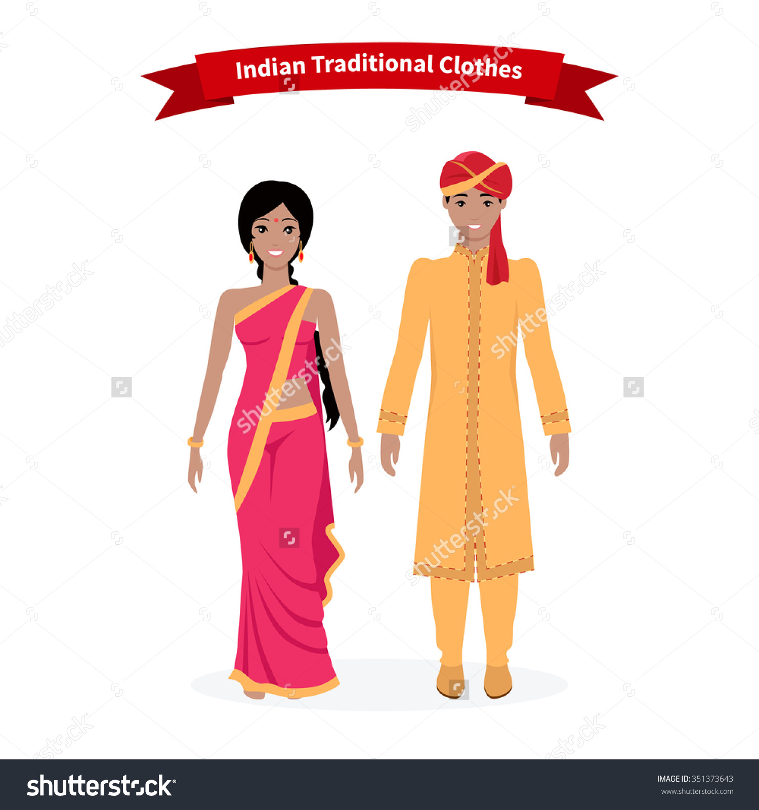 Bengali traditional dress clipart jpg royalty free stock Indian Traditional Clothes People Indian Sari Stock Vector ... jpg royalty free stock
