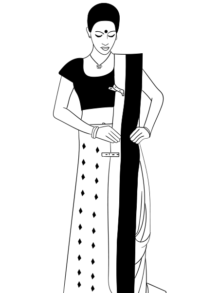 Bengali woman in sari clipart clip stock How To Wear A Saree In Bengali Style - Step By Step Tutorial clip stock