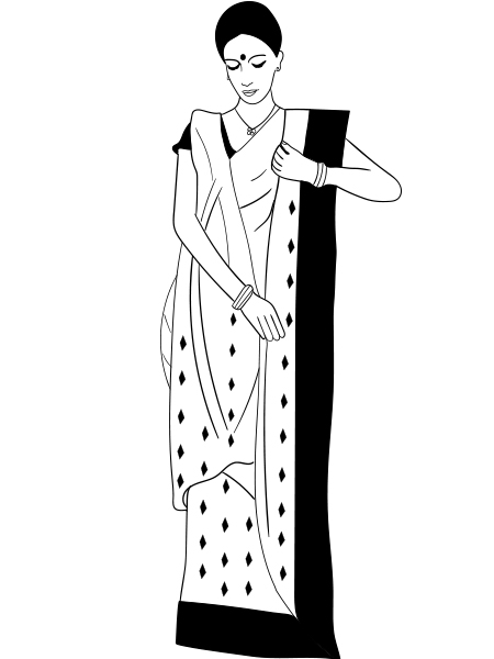 Bengali woman in sari clipart svg black and white download How To Wear A Saree In Bengali Style - Step By Step Tutorial svg black and white download