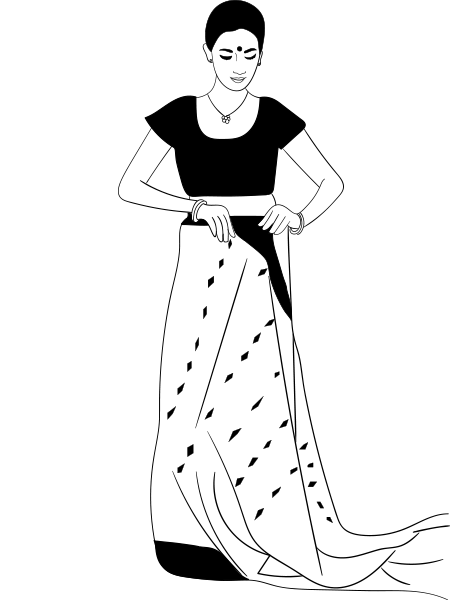 Bengali woman in sari clipart jpg freeuse library How To Wear A Saree In Bengali Style - Step By Step Tutorial ... jpg freeuse library