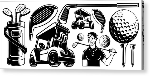Bert adams truck clipart stock Golf Vector Clipart Acrylic Print stock