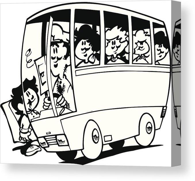 Bert adams truck clipart clip freeuse Schoolbus With Kids Vector Cartoon Clipart Canvas Print clip freeuse