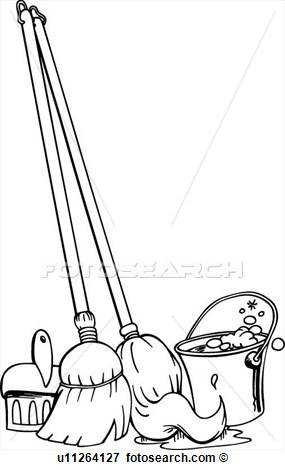 Mop and broom kid. Besen clipart